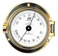 "3"" BRASS THERMOMETER-HYGROMETER"