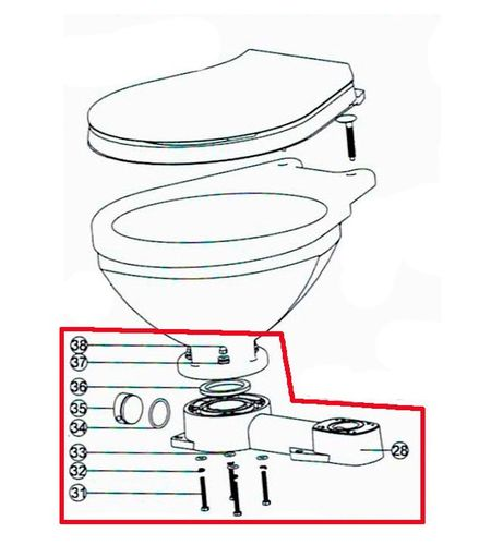 Manual Toilet Base Assembly Kit E for LT