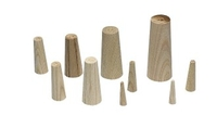SET OF 9 LARGE CONICAL WOODEN PLUGS